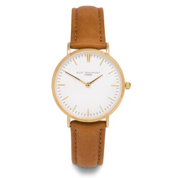 Elie Beaumont Oxford Small Tan Nappa Watch