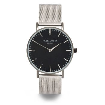 Mr Beaumont Silver Mesh Black Dial Watch