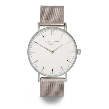 Mr Beaumont Silver Mesh White Dial Watch