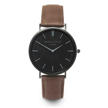 Mr Beaumont Brown Nappa Black Dial Watch