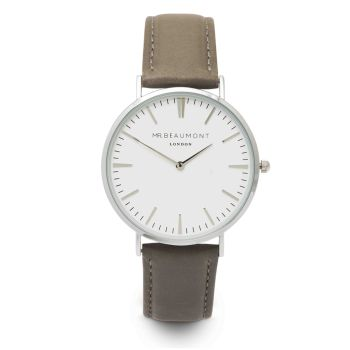 Mr Beaumont Grey Nappa Silver Dial Watch