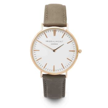 Mr Beaumont Grey Nappa Gold Dial Watch