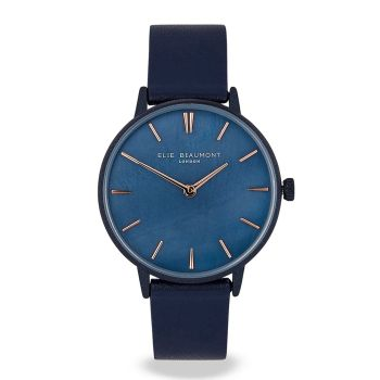 Elie Beaumont Soho Dark Blue Leather Watch