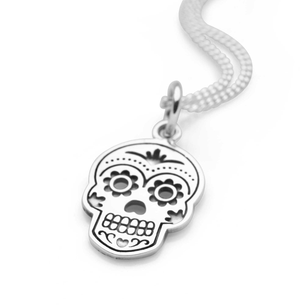 sugar skull large steel women men necklace zirconia cubic pendant itm and for zfldcyrl with