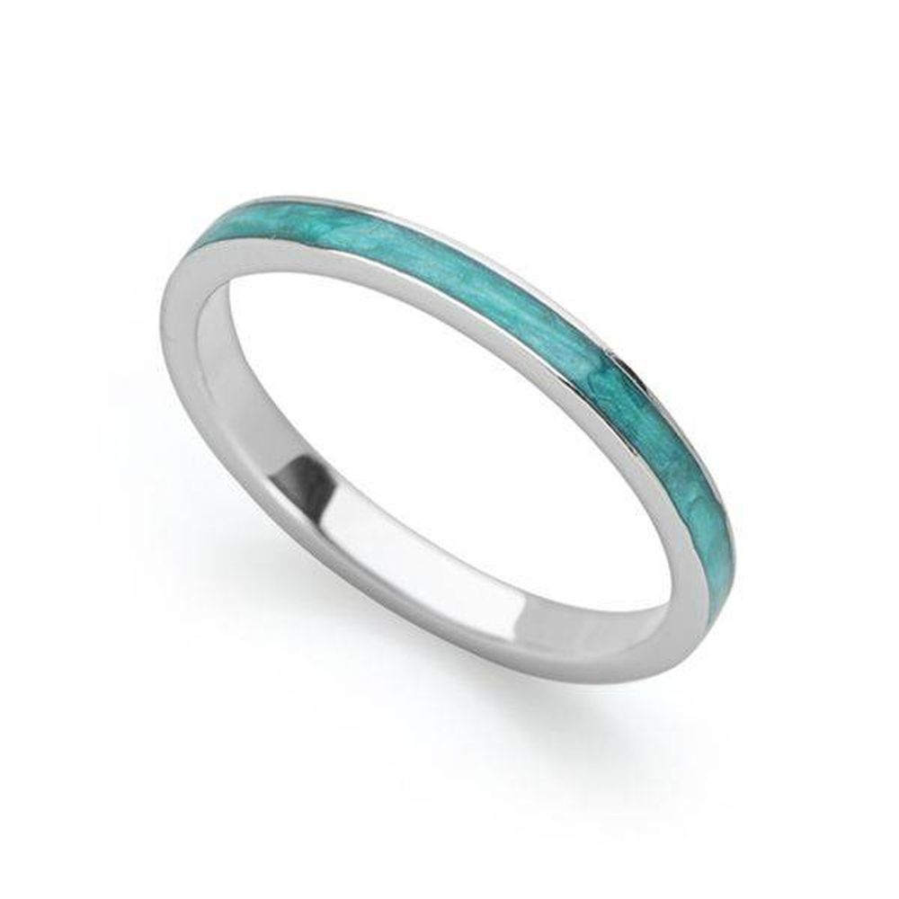 fd7615add Blue Enamel Stack Ring - Silver Rings - Silver by Mail