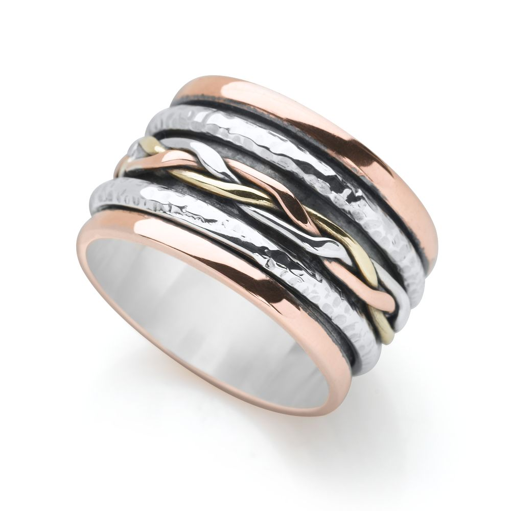 woven spin ring silver rings silver by mail